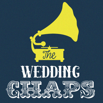 A square Wedding Chaps Logo of a yellow Gramophone on a navy blue background with white writing